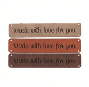 Marlaine Leren label 'Made with love for you' 15x75mm - 2 stuks