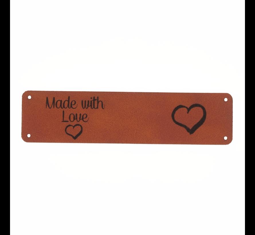 Leren label 'Made with Love - Hart' 20x80mm - 2 stuks