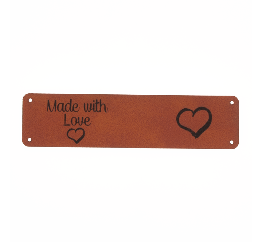 Leren label 'Made with Love - Hart' 20x80mm