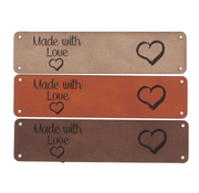 Marlaine Leren label 'Made with Love - Hart' 20x80mm