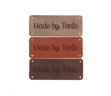 Marlaine Leren label 'Made by Tante' 20x50mm - 3 stuks