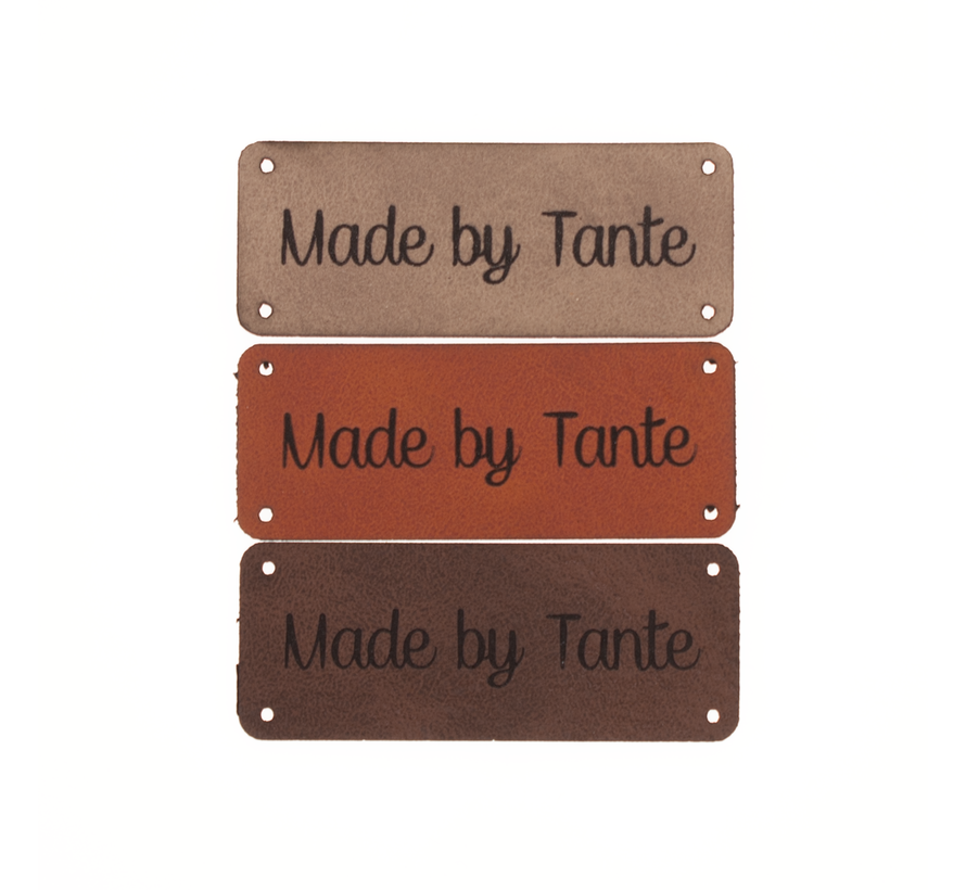 Leren label 'Made by Tante' 20x50mm