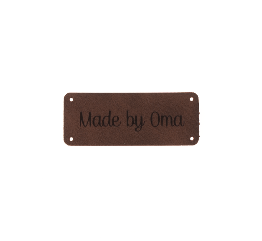 Leren label 'Made by oma' 20x50mm