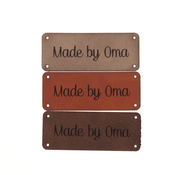 Marlaine Leren label 'Made by oma' 20x50mm - 3 stuks
