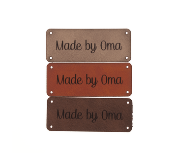 Marlaine Leren label 'Made by oma' 20x50mm - 3 stuks