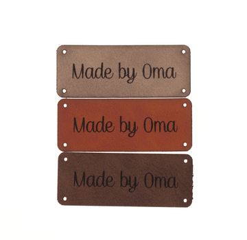 Marlaine Leren label 'Made by oma' 20x50mm