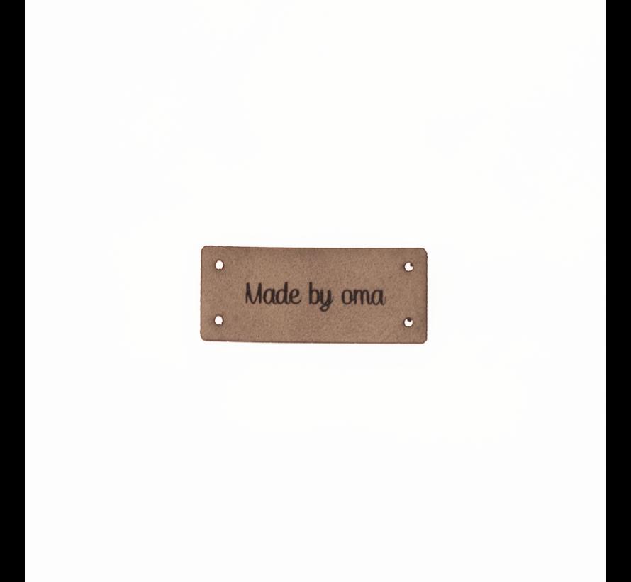 Leren Label 'Made by oma' 15x35mm - 3 stuks