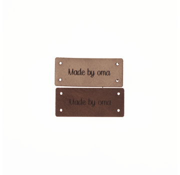 Marlaine Leren Label 'Made by oma' 15x35mm