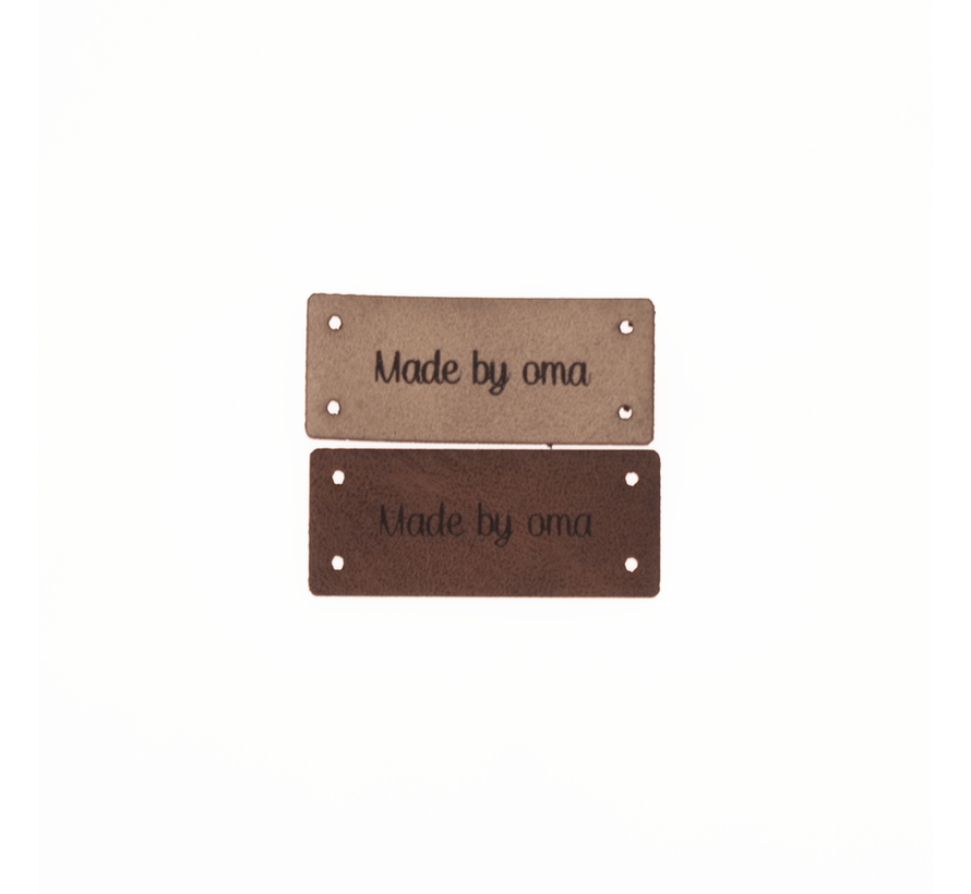 Leren Label 'Made by oma' 15x35mm