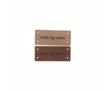 Marlaine Leren Label 'Made by mama' 15x35mm - 3 stuks