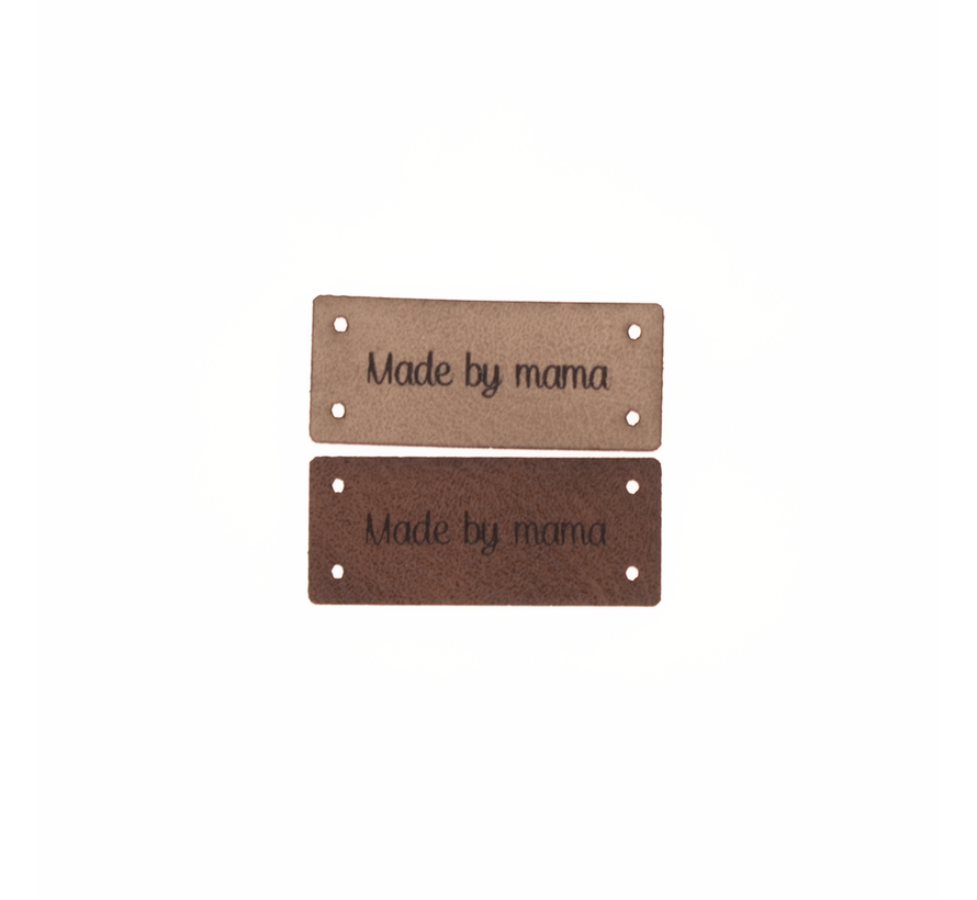 Leren Label 'Made by mama' 15x35mm