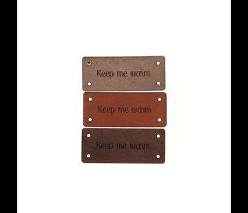 Marlaine Leren Label 'Keep me warm' 15x35mm - 3 stuks