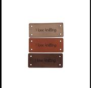 Marlaine Leren Label 'I love knitting' 15x35mm