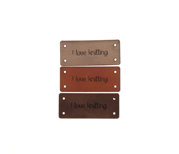 Marlaine Leren Label 'I love knitting' 15x35mm - 3 stuks