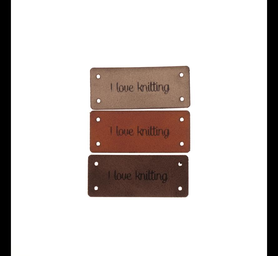 Leren Label 'I love knitting' 15x35mm - 3 stuks