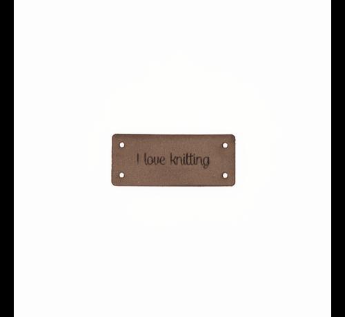 Marlaine Leren Label 'I love knitting' 15x35mm - 3 stuks