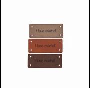 Marlaine Leren Label 'I love crochet' 15x35mm - 3 stuks