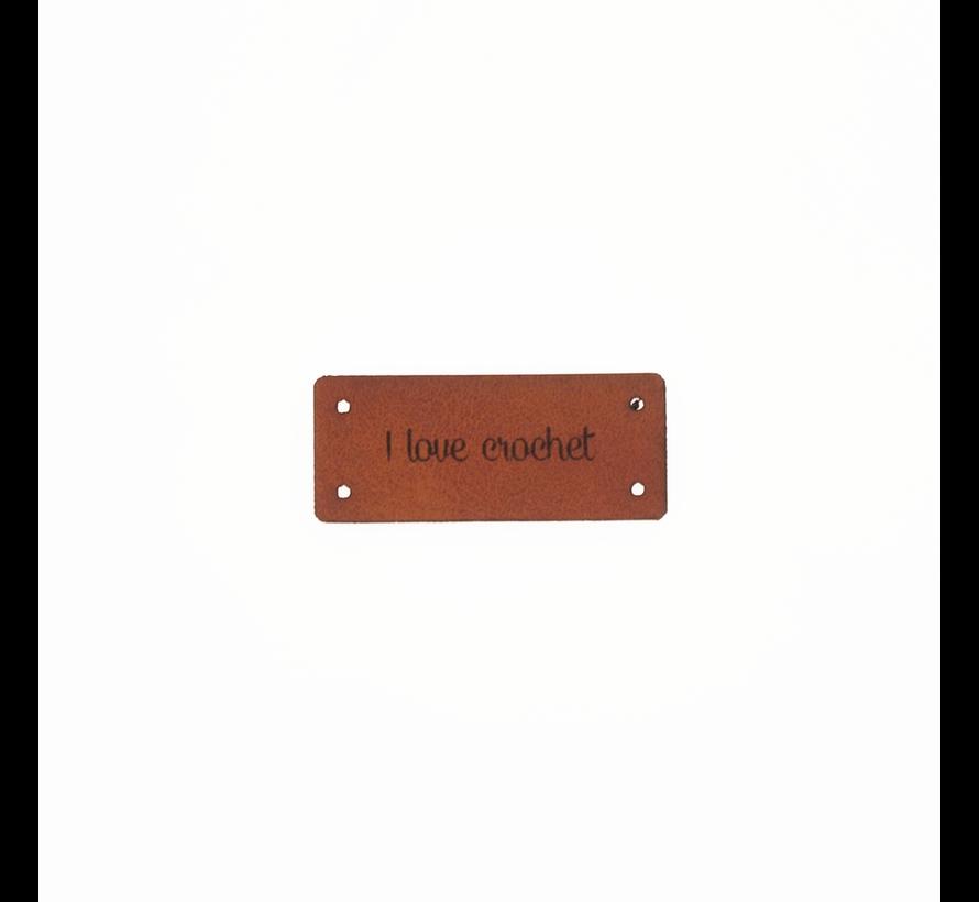 Leren Label 'I love crochet' 15x35mm - 3 stuks