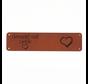 Leren label 'Gemaakt met liefde' 20x80mm - 2 stuks