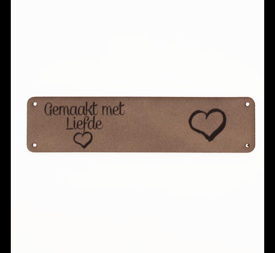 Leren label 'Gemaakt met liefde' 20x80mm