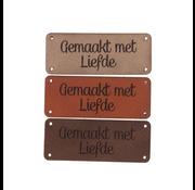 Marlaine Leren label 'Gemaakt met liefde' 20x50mm - 3 stuks