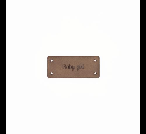 Marlaine Leren Label 'Baby girl' 15x35mm  - 3 stuks