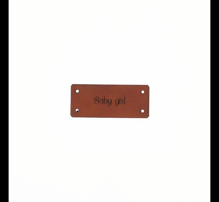 Leren Label 'Baby girl' 15x35mm  - 3 stuks