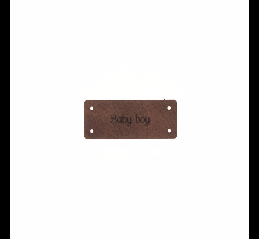 Leren Label 'Baby boy' 15x35mm - 3 stuks
