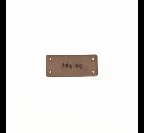 Marlaine Leren Label 'Baby boy' 15x35mm - 3 stuks