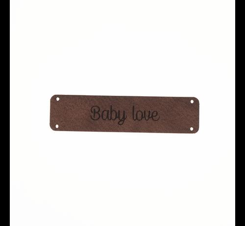 Marlaine Leren label 'Baby love' 15x60mm - 2 stuks