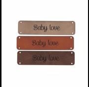 Marlaine Leren label 'Baby love' 15x75mm - 2 stuks