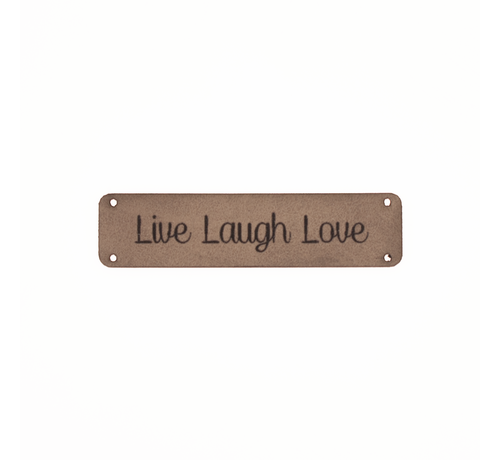 Marlaine Leren label 'Live Laugh Love' 15x75mm - 2 stuks