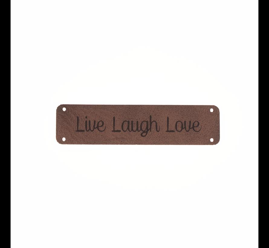 Leren label 'Live Laugh Love' 15x75mm