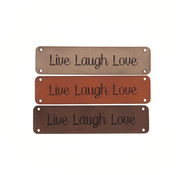Marlaine Leren label 'Live Laugh Love' 15x60mm - 2 stuks