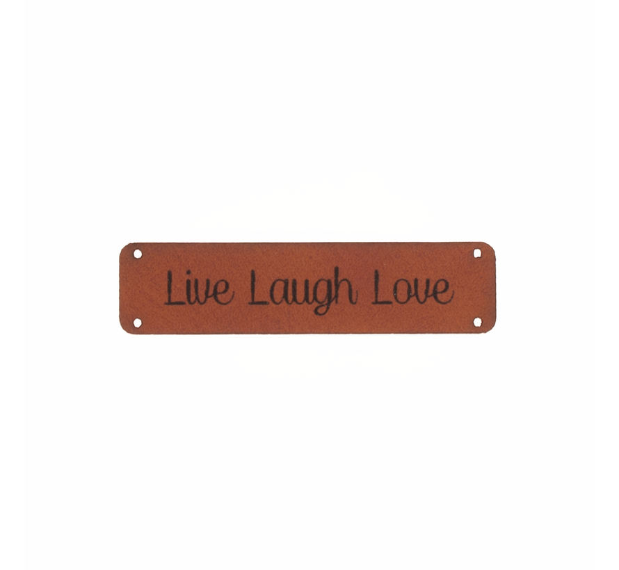 Leren label 'Live Laugh Love' 15x75mm - 2 stuks