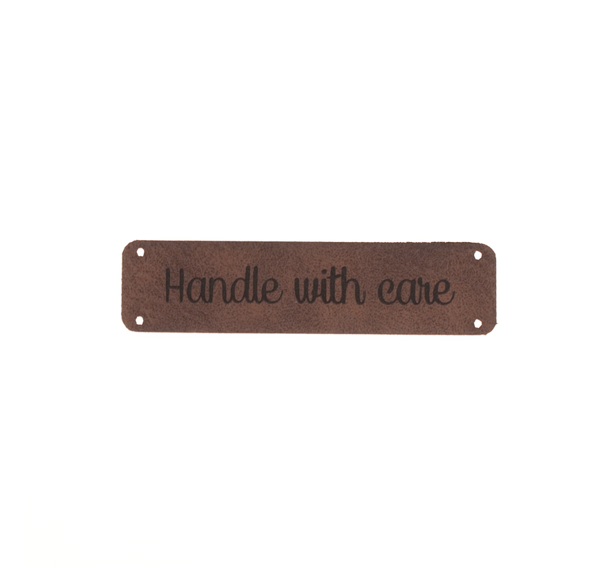 Leren label 'Handle with care' 15x75mm