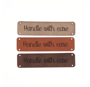 Marlaine Leren label 'Handle with care' 15x60mm - 2 stuks