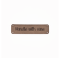 Leren label 'Handle with care' 15x60mm - 2 stuks