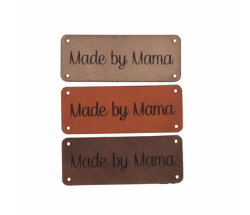 Marlaine Leren label 'Made by mama' 20x50mm - 3 stuks