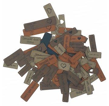 Marlaine Leren label met eigen tekst 10 x 20 mm Rechthoek