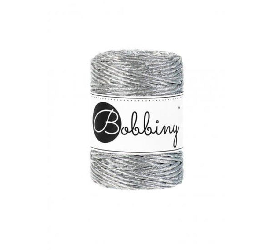 Bobbiny Macramé cord 3mm Metallic Silver Limited Edition