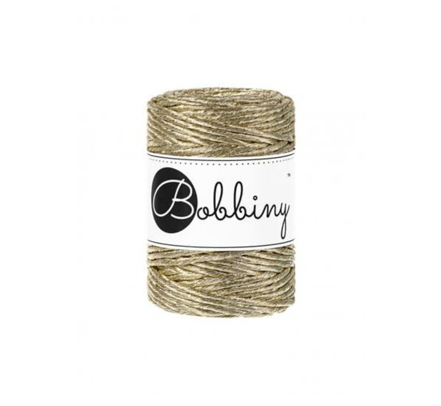 Bobbiny Macrame cord 3mm Metallic gold Limited Edition