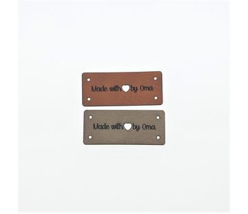Marlaine Leren Label 'Made with Love by oma' 15x35mm - 3 stuks