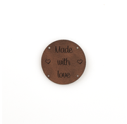 Marlaine Leren label 'Made with Love' rond 35mm  - 2 stuks Chestnut