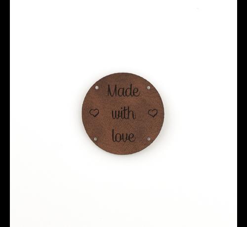 Marlaine Leren label 'Made with Love' rond 35mm  - 2 stuks Chestnut