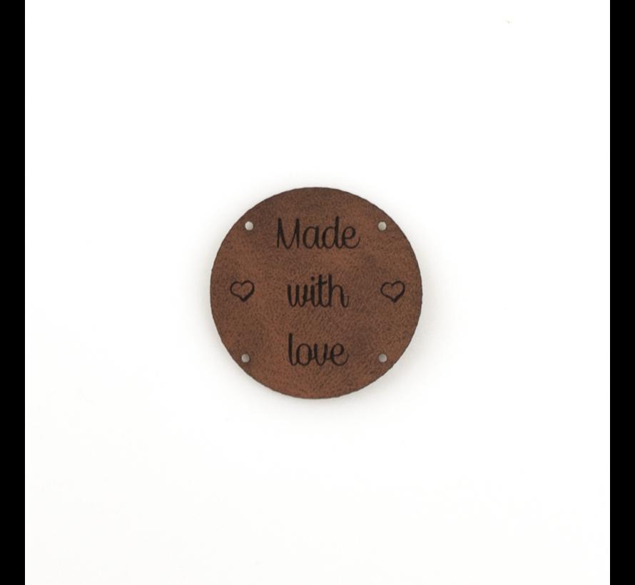 Leren label 'Made with Love' rond 35mm  - 2 stuks Chestnut