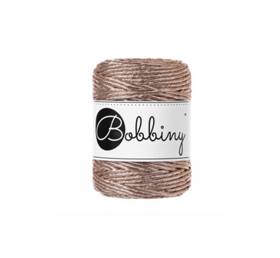 Bobbiny Macrame cord 3mm Metallic Champagne Limited Edition