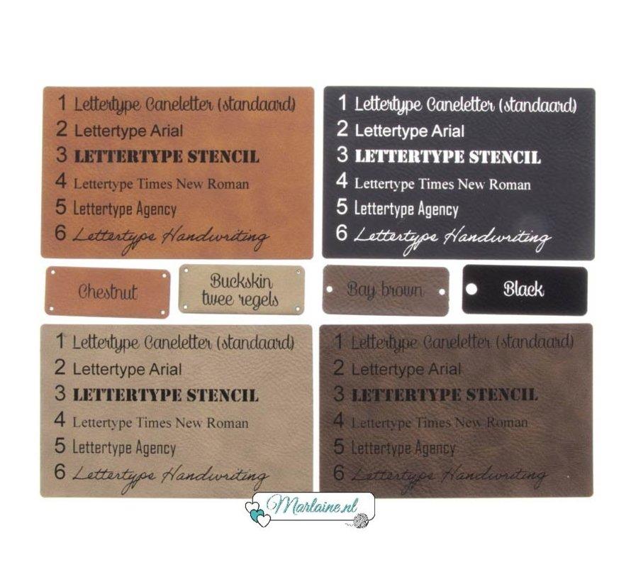 Leren label met eigen tekst Rechthoek 20 x 50 mm
