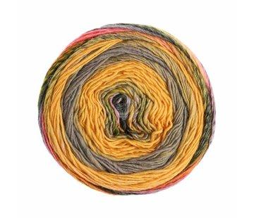Lana Grossa Gomitolo Finito 554 Kleur: Oker-Grijspaars-Oranje-Grijs-Paars