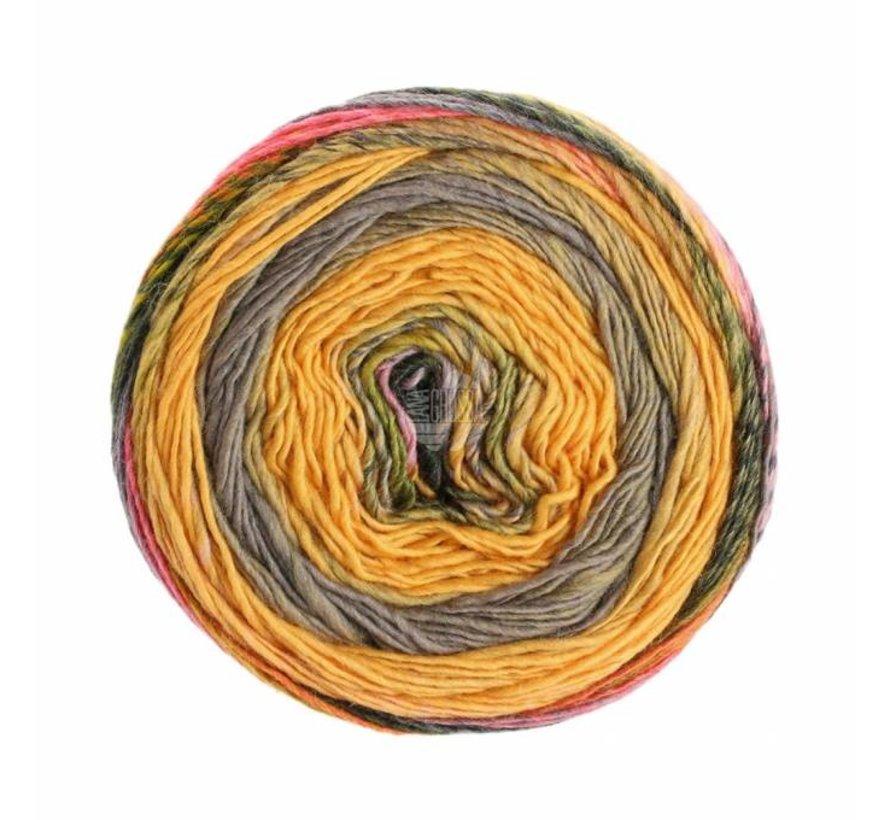 Gomitolo Finito 554 Kleur: Oker-Grijspaars-Oranje-Grijs-Paars